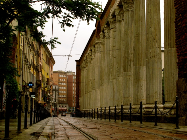 San Lorenzo's columns from a side perspective taken in Corso di Porta Ticinese, Milan